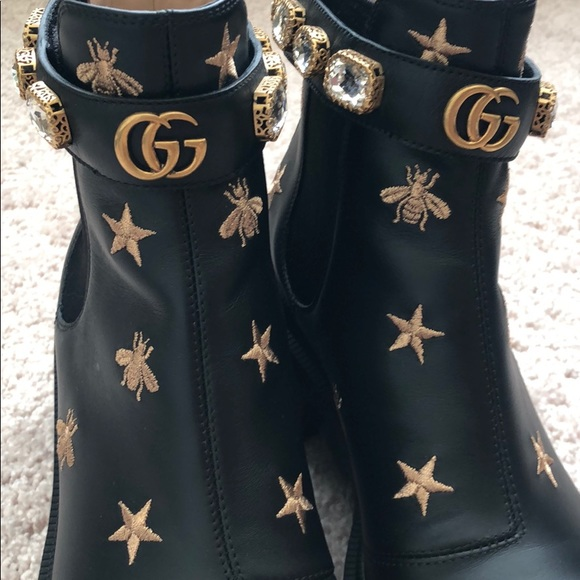9fd59c68 Gucci Embroidered Leather Ankle Boot with Belt